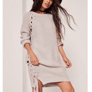 Missguided Grey lace up sweater Dress